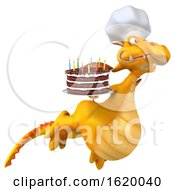 Poster, Art Print Of 3d Yellow Dragon On A White Background