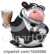 3d Business Holstein Cow On A White Background
