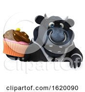 3d Black Business Bull On A White Background