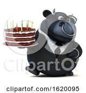3d Black Business Bull Holding A Birthday Cake On A White Background