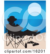 Woman Seated In A Chair On The Beach Silhouetted With Her Sandals And Water Bottle In The Sand While Reading A Book With A View Of The Ocean Or Blue Lake Clipart Illustration Image by Maria Bell