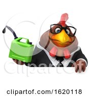 3d Brown Business Chicken On A White Background