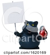 3d Black Kitty Cat On A White Background