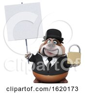 3d Gentleman Or Business Bulldog Holding A Padlock On A White Background