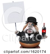 3d Gentleman Or Business Bulldog Holding A Wine Bottle On A White Background
