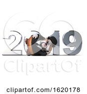 3d Gentleman Or Business Bulldog With New Year 2019 On A White Background
