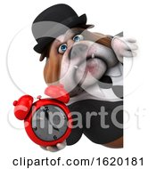 3d Gentleman Or Business Bulldog Holding An Alarm Clock On A White Background