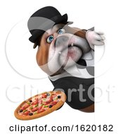3d Gentleman Or Business Bulldog Holding A Pizza On A White Background