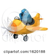 3d Blue Bird Flying A Plane On A White Background