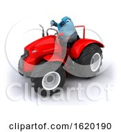 Poster, Art Print Of 3d Blue Bird Operating A Tractor On A White Background
