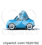 3d Blue Bird Driving A Car On A White Background