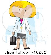 Friendly Blond Female Doctor Wearing A Stethoscope Around Her Neck And Carrying A Medical Bag While Standing In Front Of A Patients Bed In A Hospital Room Clipart Illustration Image