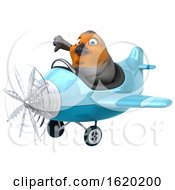 3d Robin Bird Flying A Plane On A White Background
