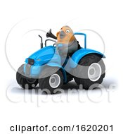 3d Robin Bird Operating A Tractor On A White Background