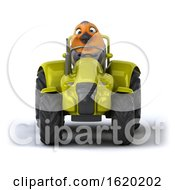Poster, Art Print Of 3d Robin Bird Operating A Tractor On A White Background