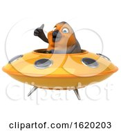 3d Robin Bird Flying A Ufo On A White Background