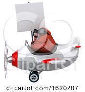 3d Red Bird Flying A Plane On A White Background
