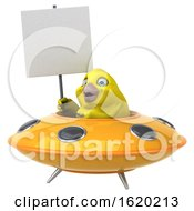 3d Yellow Bird Flying A Ufo On A White Background
