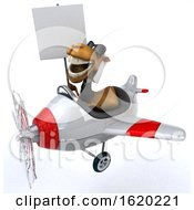 3d Arabian Business Camel Flying A Plane On A White Background