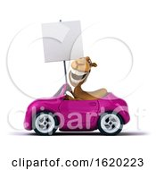 3d Camel Driving A Pink Convertible Car On A White Background