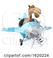 3d Camel Flying A Plane On A White Background