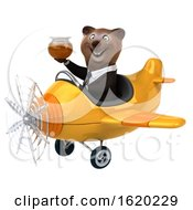 3d Brown Business Bear Flying An Airplane On A White Background