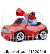 3d Chubby French Chicken Driving A Convertible On A White Background by Julos
