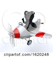 3d Black Bear Flying A Plane On A White Background