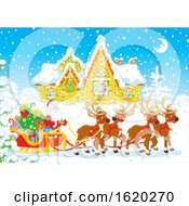 Santa Claus With His Reindeer And Sleigh In Front Of A Home