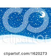 Crescent Moon And Colorful Stars On A Snowy Night