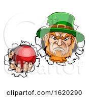 Leprechaun Cricket Mascot Ripping Background by AtStockIllustration