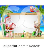 Santa Claus And Reindeer Christmas Beach Sign