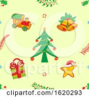 Poster, Art Print Of Christmas Seamless Background With A Tree Gift Star Bells And Train