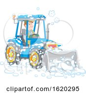 Man Operating A Snow Tractor