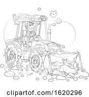 Poster, Art Print Of Black And White Man Operating A Snow Tractor