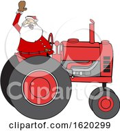 Cartoon Christmas Santa Waving And Driving A Tractor