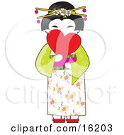 Beautiful Japanese Geisha Woman With Blossoms In Her Hair Wearing A Floral And Green Kimono And Holding A Heart In Front Of Her Face Clipart Illustration Image