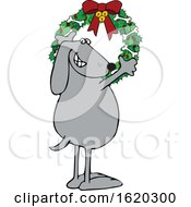 Poster, Art Print Of Cartoon Festive Dog Hanging A Christmas Wreath With Bones On It
