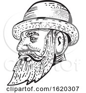 Hipster Wearing Bowler Hat Etching Black And White