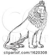 Lion Sitting Wearing Tiara Etching Black And White