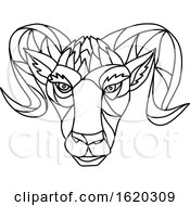 Bighorn Sheep Ram Mosaic Black And White by patrimonio
