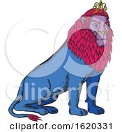 Blue Lion Sitting Wearing Tiara Crown Etching