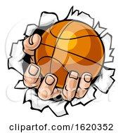 Poster, Art Print Of Basketball Ball Hand Tearing Background