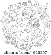 Black And White Circle Of Christmas Items Around Santa Holding A Sack