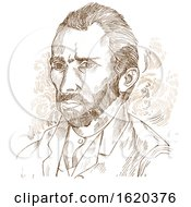 Hand Drawn Vector Portrait Vincent Van Gogh