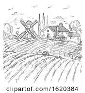 Vector Farm Engraved Style Drawing