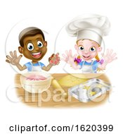 Cartoon Child Bakers Baking