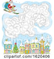 Sledding Santa With A Cloud Maze Over A Town