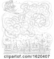 Black And White Sledding Santa With A Cloud Maze Over A Town