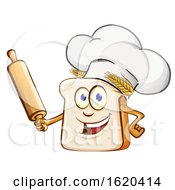 Chef Bread Mascot Holding A Rolling Pin by Domenico Condello